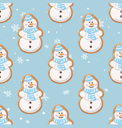 ginger cookies seamless patternchristmas vector image