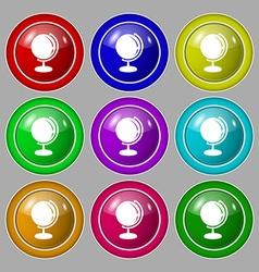 Globe icon sign symbol on nine round colourful vector