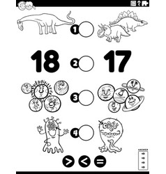 Greater less or equal game for children coloring vector