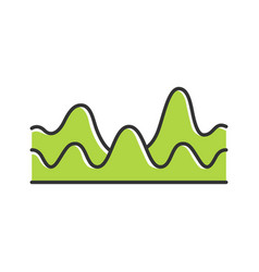 Green overlapping waves color icon sound wave vector