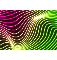 green purple neon curved wavy lines abstract vector image