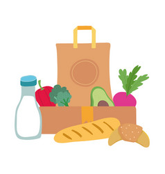 grocery bag and box with vegetables milk bottle vector image