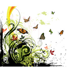 grunge floral background and butterflies vector image