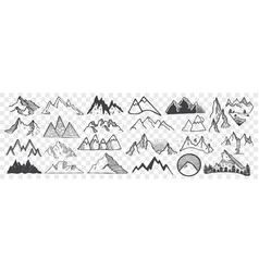Hand drawn mountain peaks doodle set vector