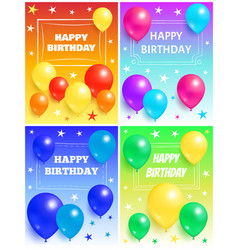 Happy birthday background glossy balloons and star vector