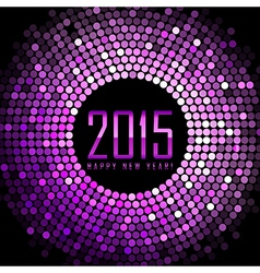 Happy New Year 2015 - purple disco lights frame vector image