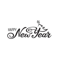 happy new year greeting monochromatic hand drawn vector image