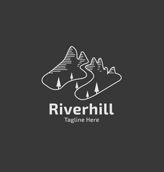 hill with creek logo vector image