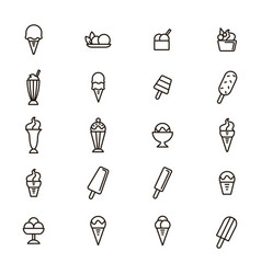 ice cream signs black thin line icon set vector image