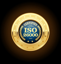 iso 26000 standard medal - social responsibility vector image