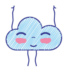 Kawaii nice happy cloud with arms vector