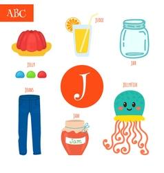 Letter J Cartoon alphabet for children Jellyfish vector
