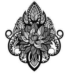 lotus tattoo mandala vector image