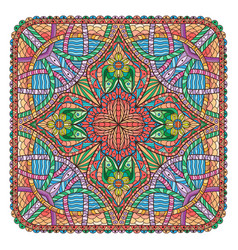 Mandala like square shaped decoration colored vector