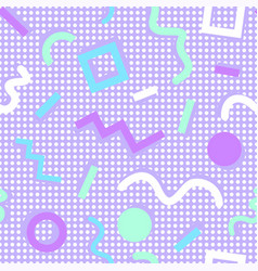 memphis pattern shapes colors purple background vector image