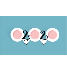 mouse 2020 flat style picture cute ears like vector image