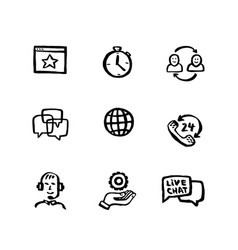 naive style icon set online support customer vector image