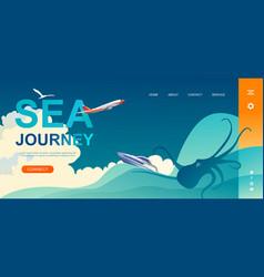 Nautical adventure concept banner sea vector