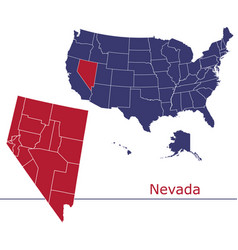 nevada map counties with usa map vector image