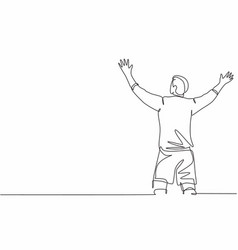 One continuous line drawing sporty young vector