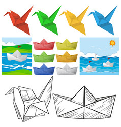 origami craft with bird and boat vector image
