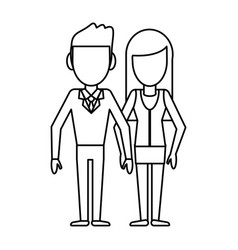 outlined couple people relationship vector image