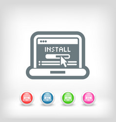 Pc install icon vector