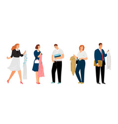 people holding clothes vector image