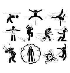 people jumping and evading gun bullet and vector image