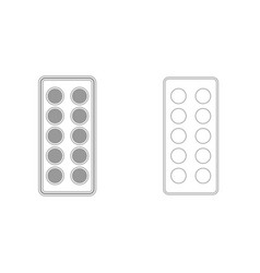 Pills in blister grey set icon vector