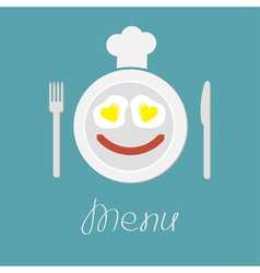 Plate with eggs heart and sausage Fork knife hat vector image