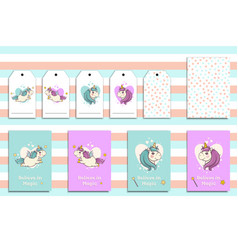 Postcards set with cute flying unicorns and his vector