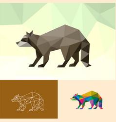 racoon animal pet pop art low poly line logo icon vector image