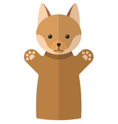Red fox hand puppet doll for theatre show vector