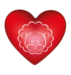Red heart shape with silhouette face cute lion vector