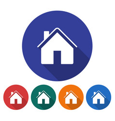 round icon of home flat style with long shadow in vector image