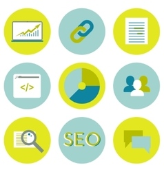 SEO flat icons set Search optimization web vector