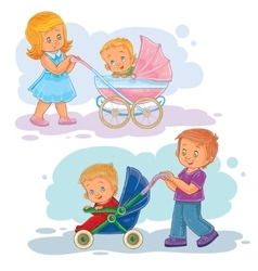 Set clip art older brother and vector
