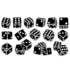 set different black dice vector image