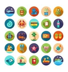 Set flat design seaside travel vacation icons vector