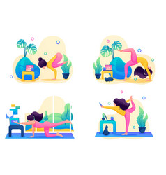 set landing pages on topic yoga classes vector image