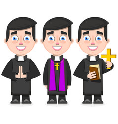 Set of catholic priest in cartoon style vector