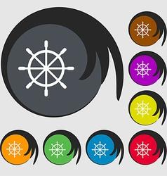 Ship steering wheel icon sign Symbols on eight vector