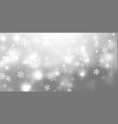 silver christmas banner with snowflakes vector image