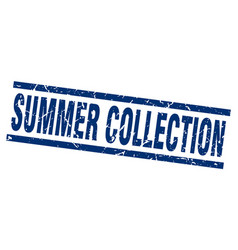 Square grunge blue summer collection stamp vector