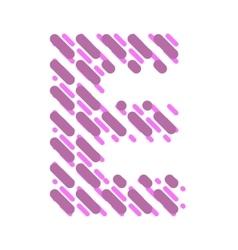 Striped latin alphabet letter E Hatching font vector
