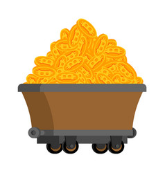 Trolley of bitcoins isolated miner tool mining vector