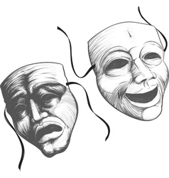 Two theatre masks vector