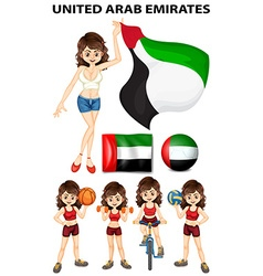 United Arab Emirates flag and athletes vector