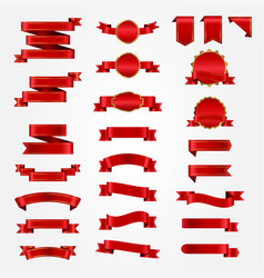 variety red ribbons set vector image